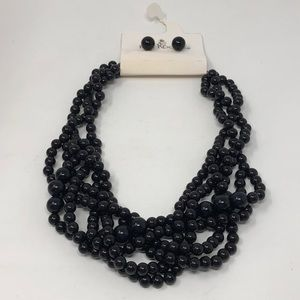 Kim Rogers Black Braided Necklace & Earring Set